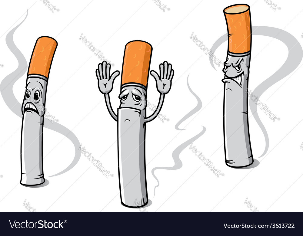 Cartoon cigarette characters vector