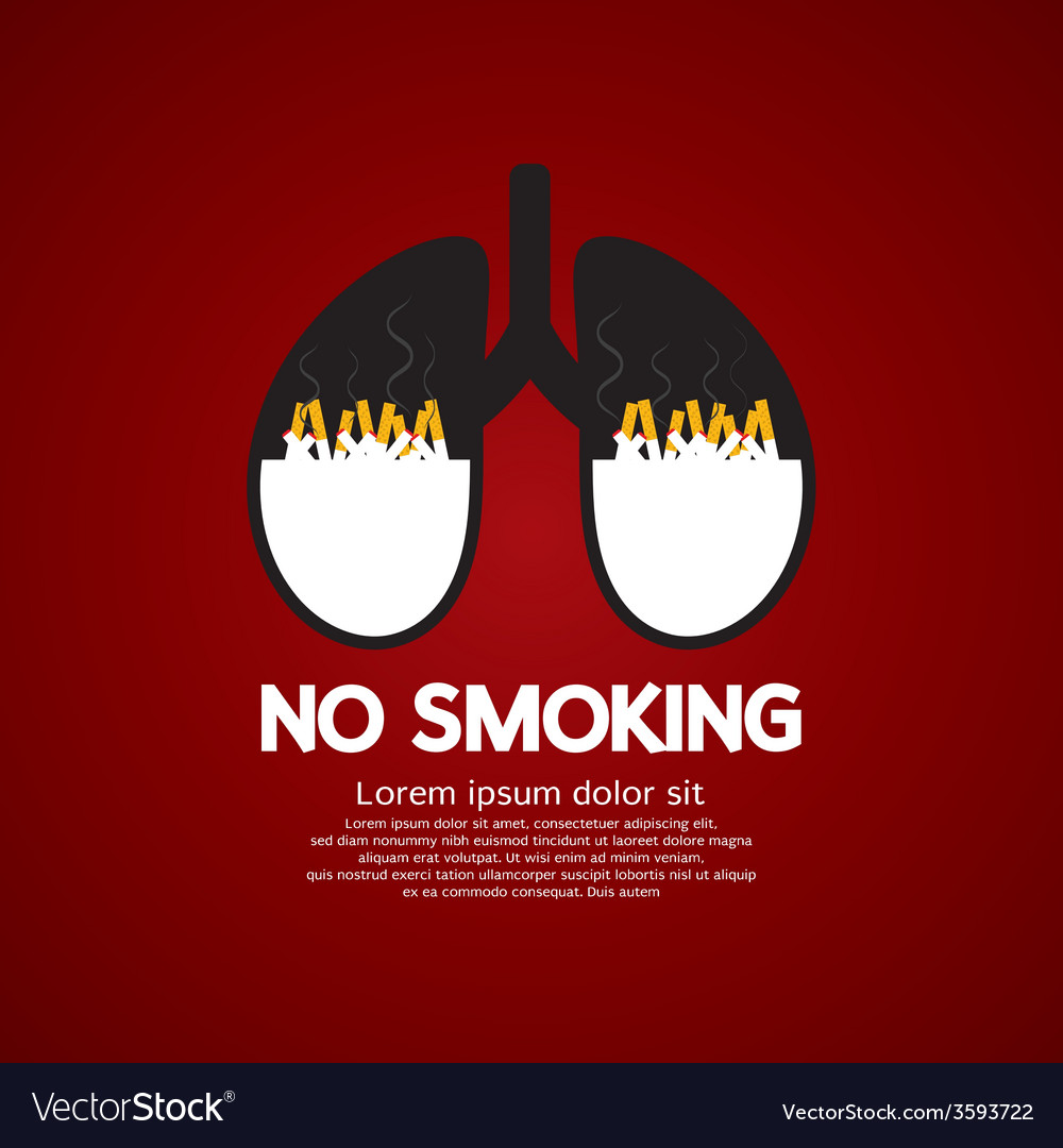 Cigarettes ash in lung-no smoking concept vector   Price: 1 Credit (USD $1)