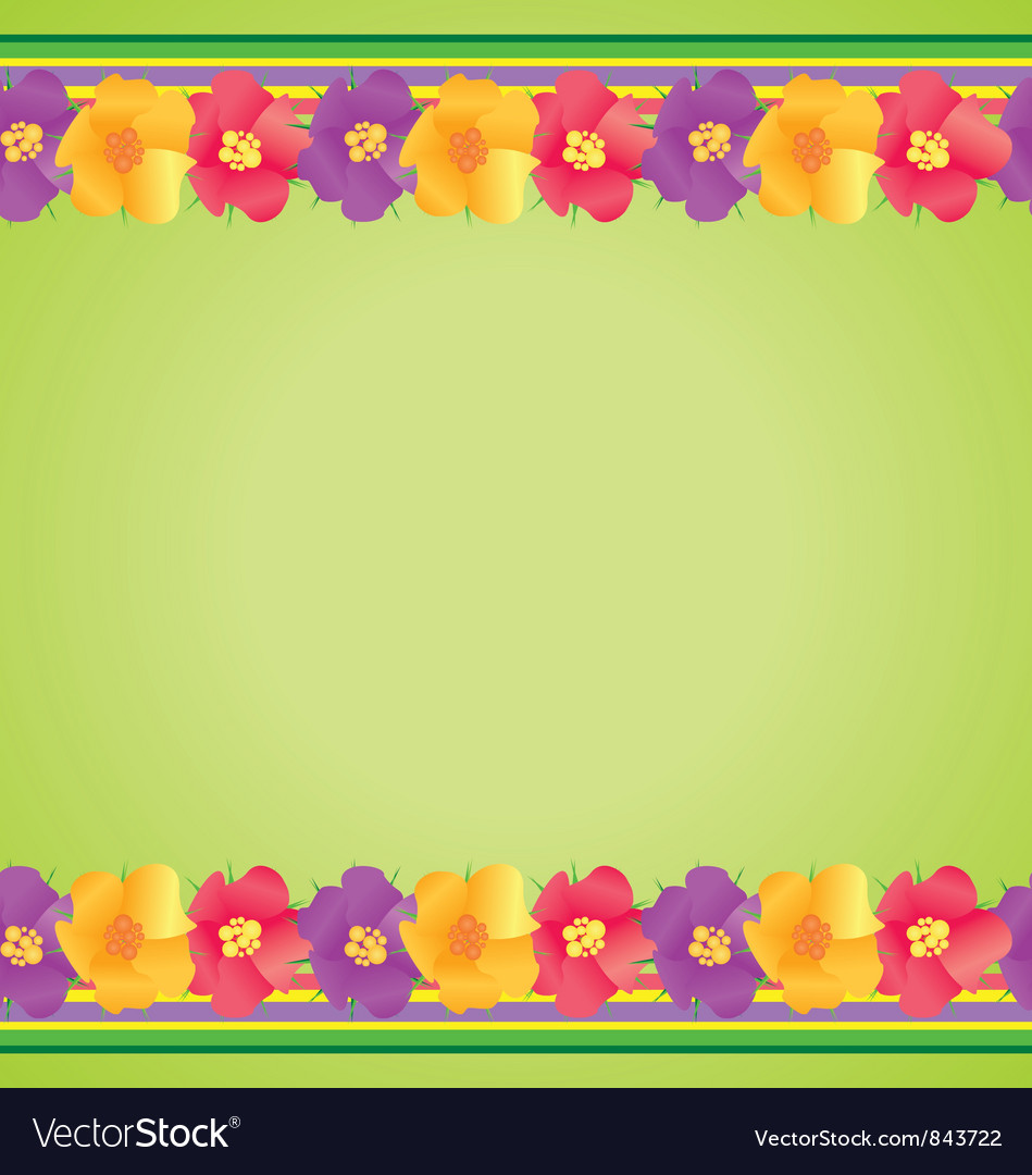 Colorful flowers border on green vector | Price: 1 Credit (USD $1)