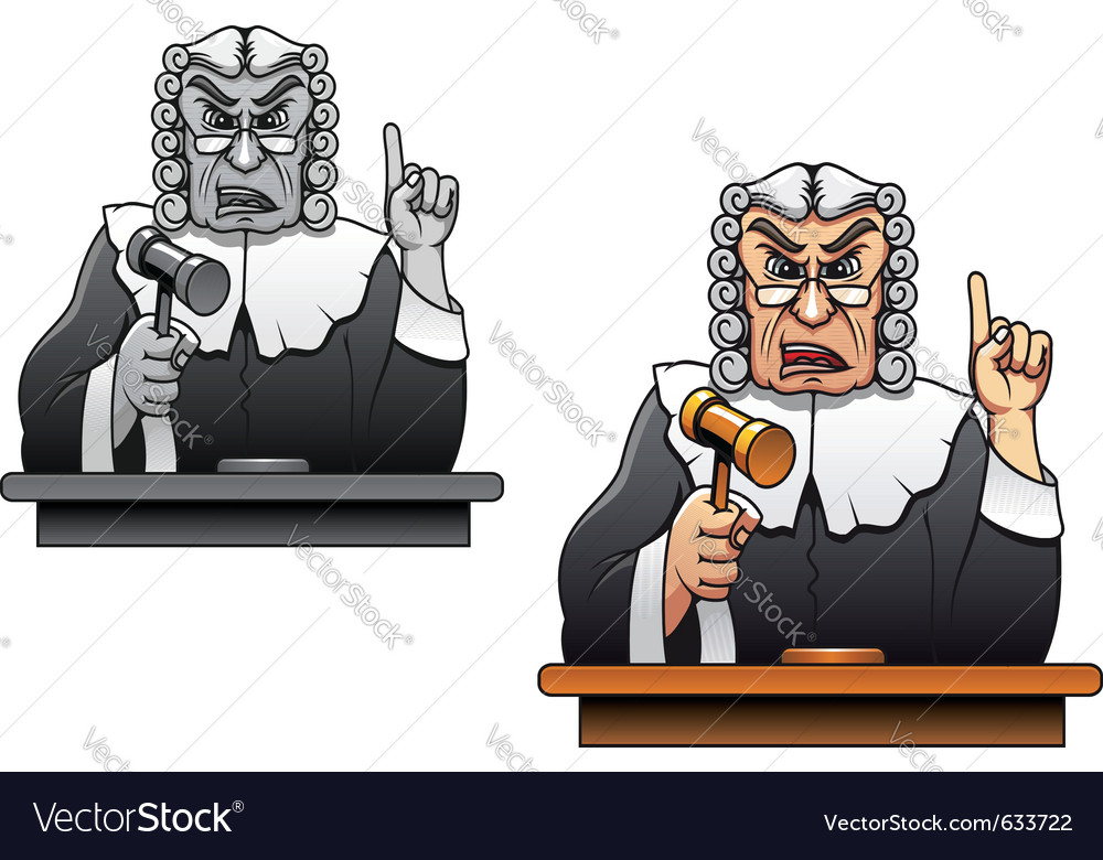 Judge with gavel for law concept design in cartoon vector | Price: 1 Credit (USD $1)