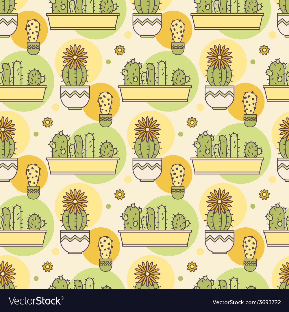 Pattern of cacti linear vector | Price: 1 Credit (USD $1)