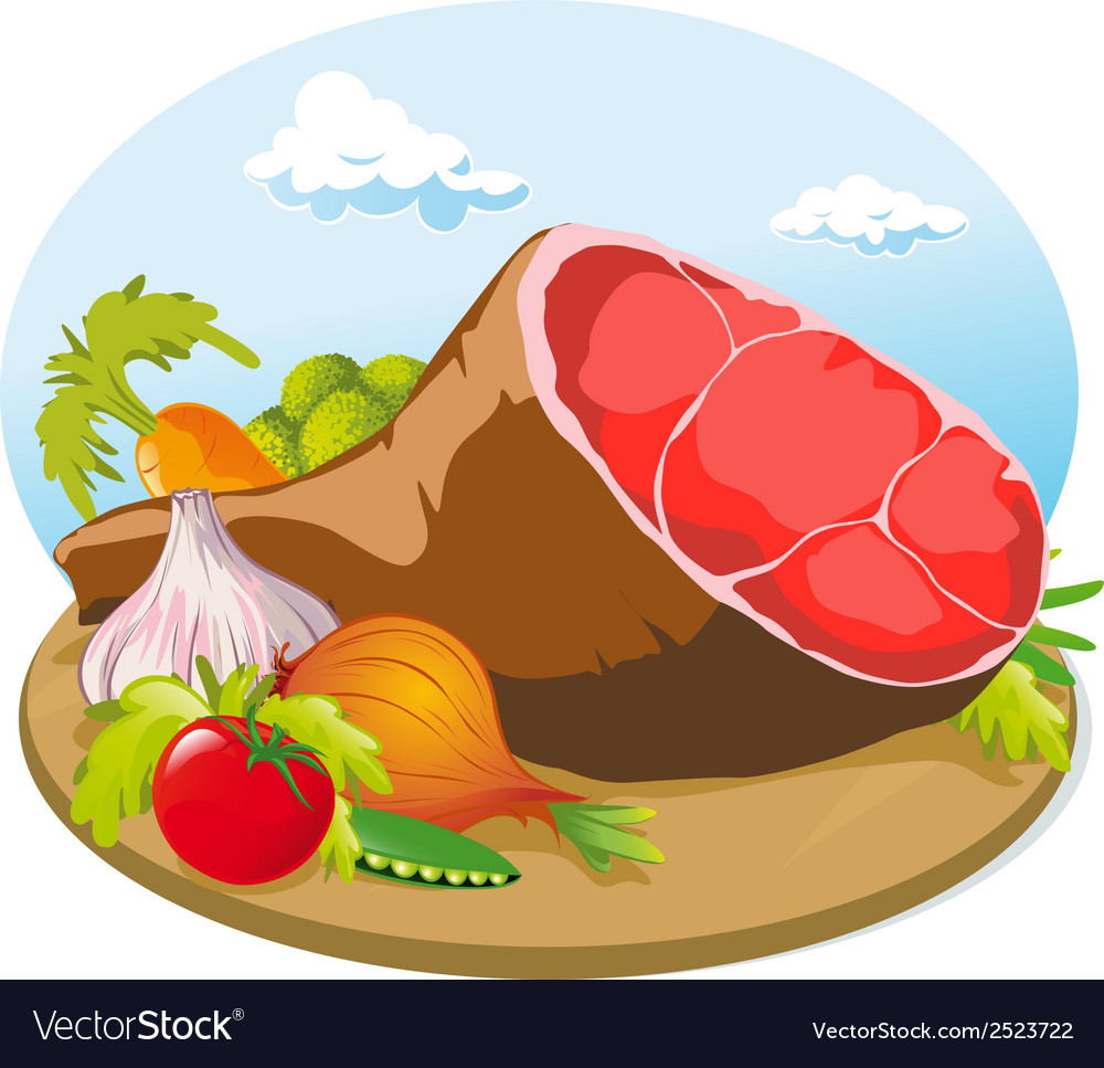 Pork ham vector | Price: 1 Credit (USD $1)