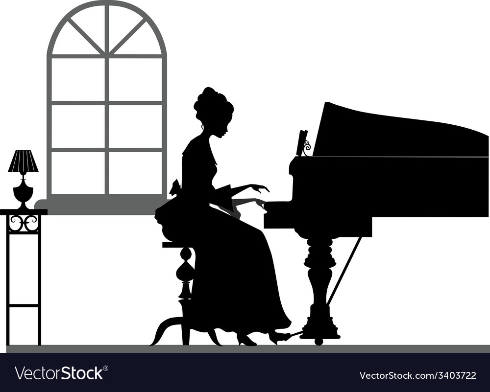 Silhouette playing piano woman vector | Price: 1 Credit (USD $1)