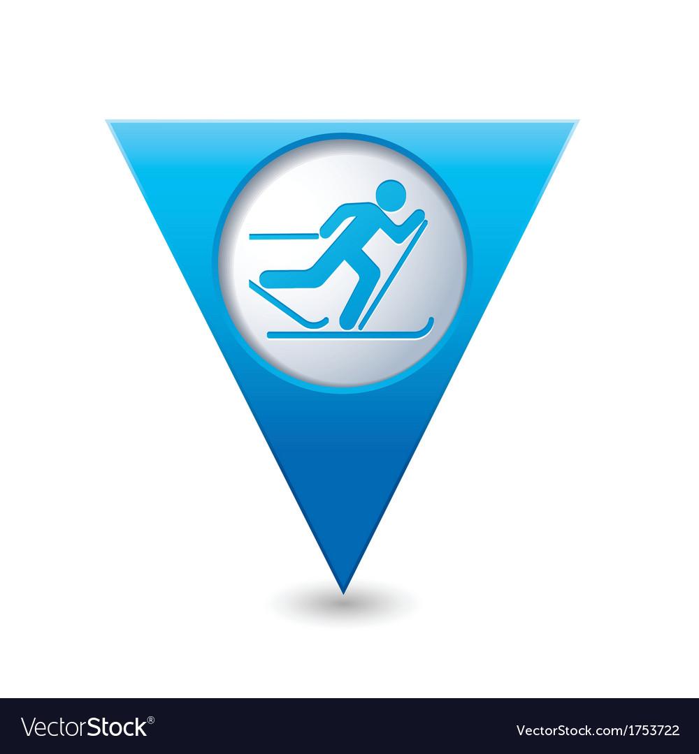 Ski track icon on blue triangular map pointer vector   Price: 1 Credit (USD $1)