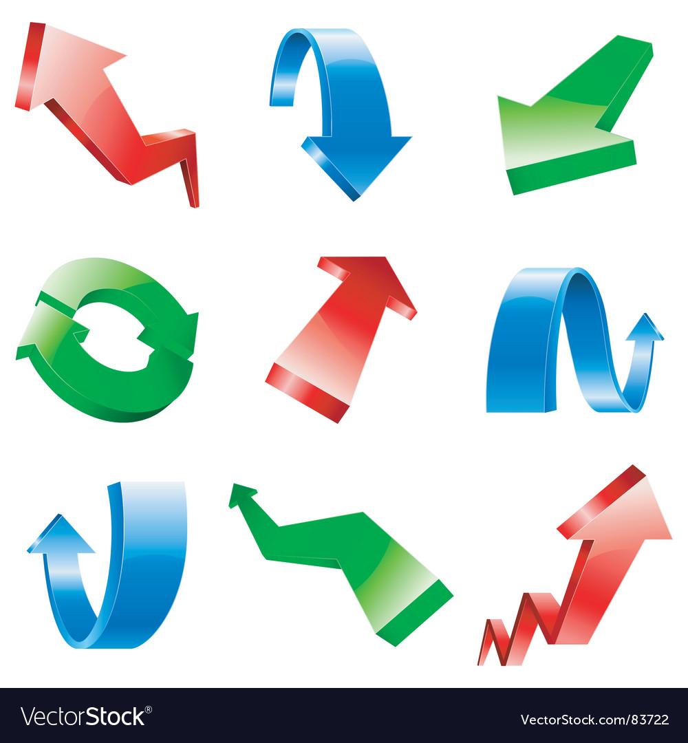 Three-dimensional arrows vector | Price: 1 Credit (USD $1)