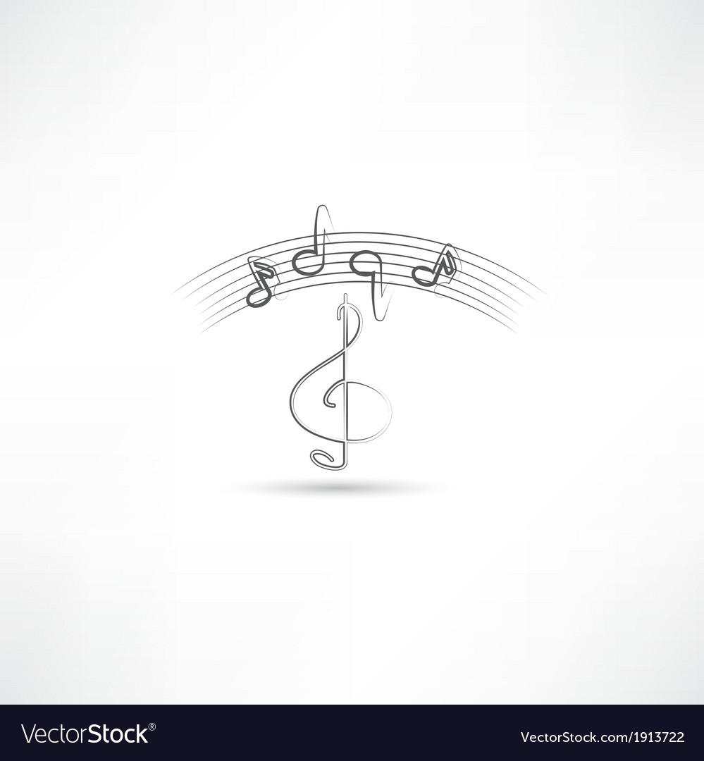 Treble clef and music vector | Price: 1 Credit (USD $1)