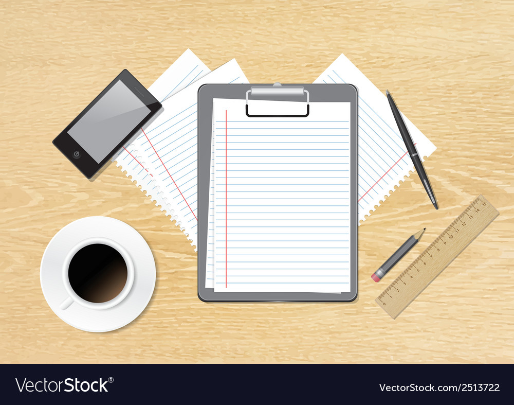 Work accessories on table vector | Price: 1 Credit (USD $1)