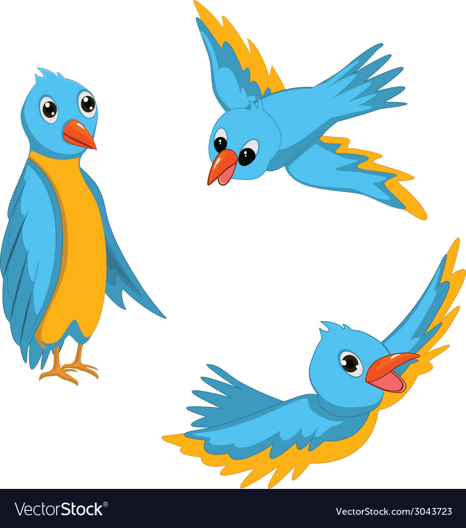Blue birds set vector | Price: 1 Credit (USD $1)