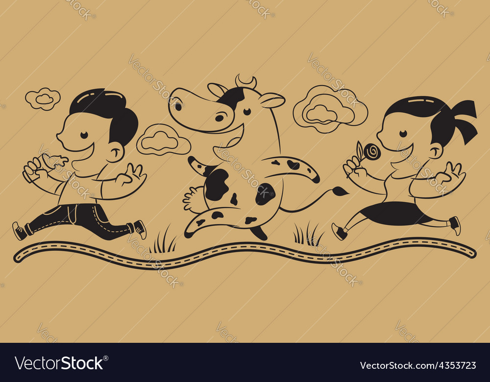 Boy girl cow milk vector | Price: 1 Credit (USD $1)