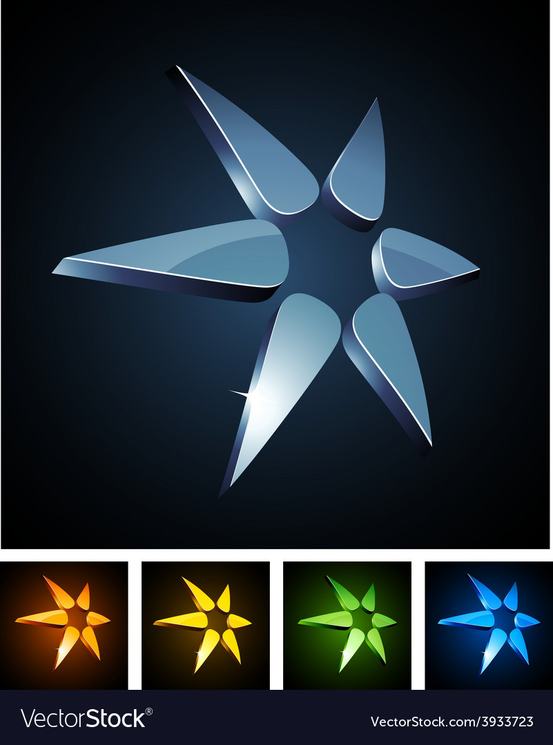 Color star vibrant emblems vector | Price: 1 Credit (USD $1)