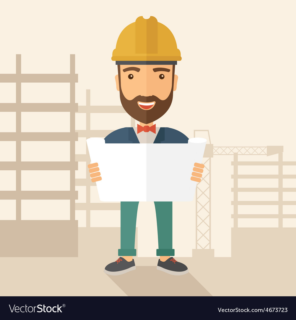 Construction worker holding the plan vector | Price: 1 Credit (USD $1)