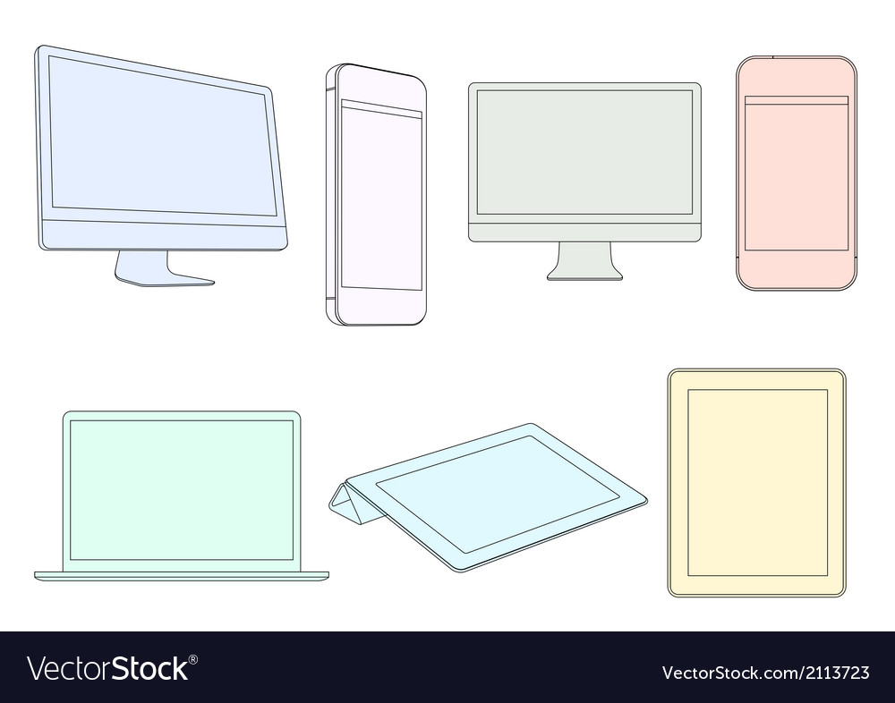 Digital devices in pastel colors vector | Price: 1 Credit (USD $1)