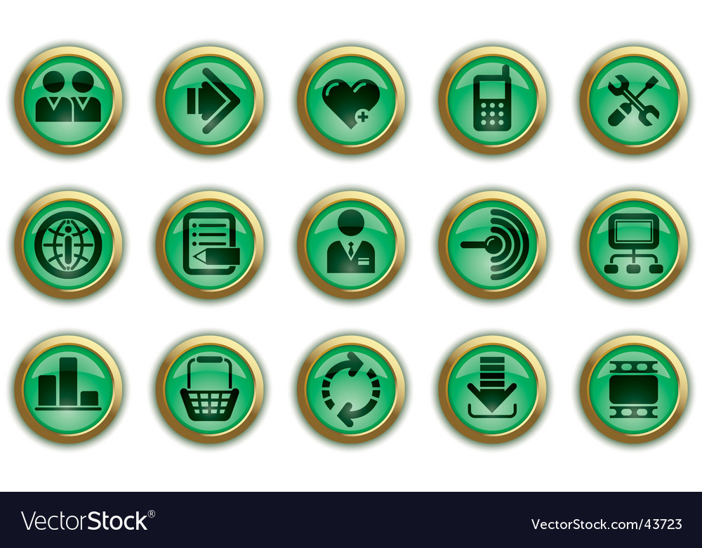 Green website and internet icons vector | Price: 1 Credit (USD $1)