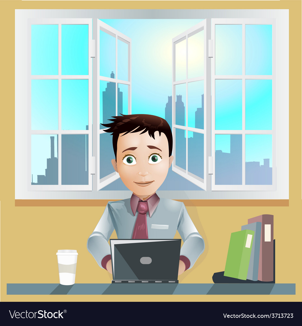 Office men working computer vector | Price: 1 Credit (USD $1)