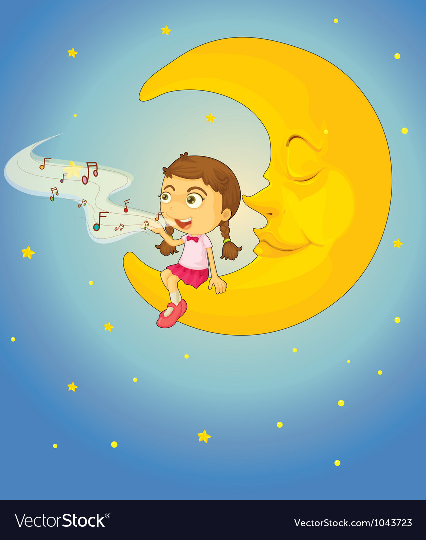 Sleepy girl moon vector | Price: 1 Credit (USD $1)