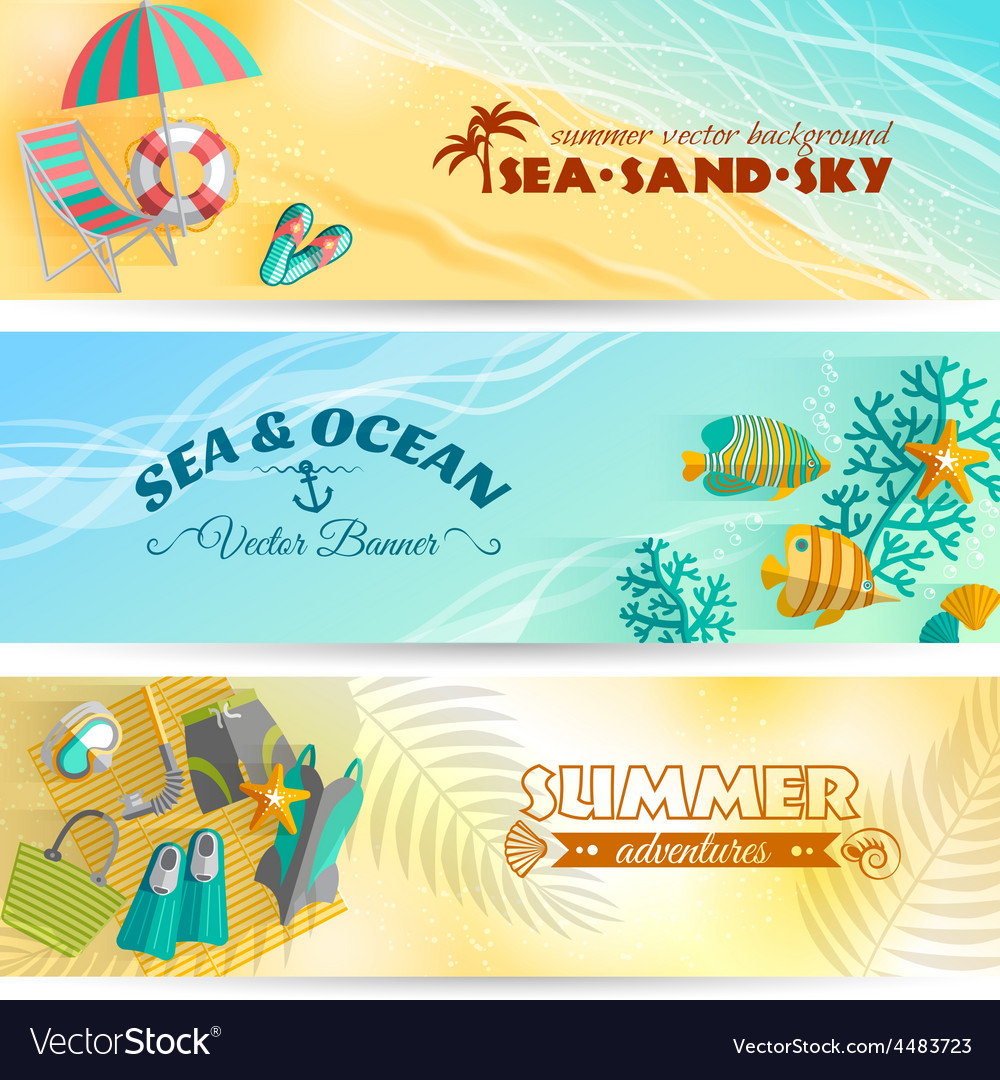 Summer holiday vacation banners set vector   Price: 1 Credit (USD $1)