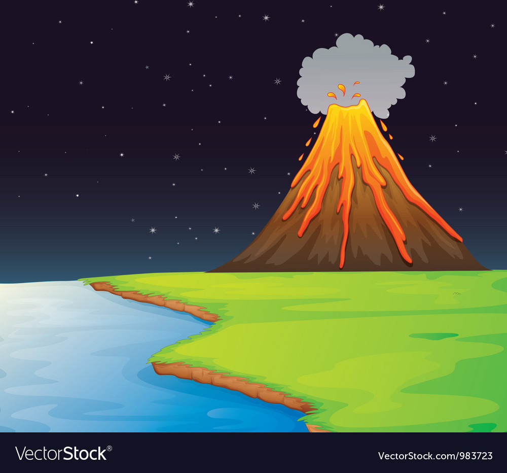 Volcano eruption vector | Price: 1 Credit (USD $1)
