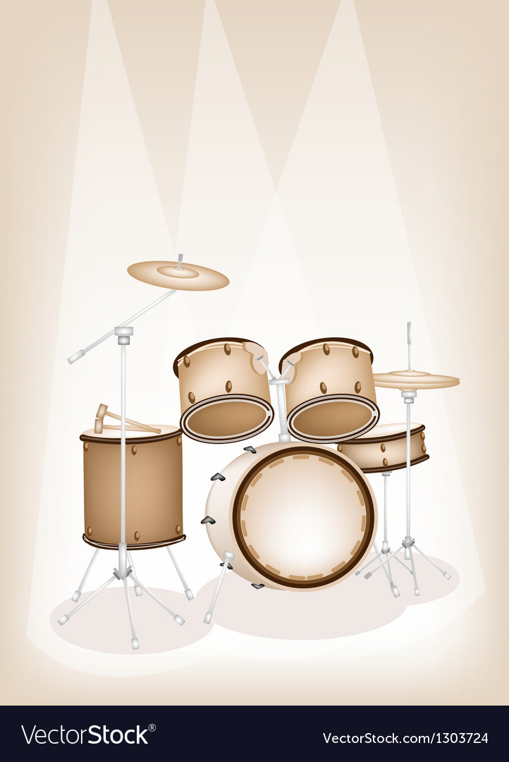 A beautiful drum kit on brown stage background vector | Price: 1 Credit (USD $1)