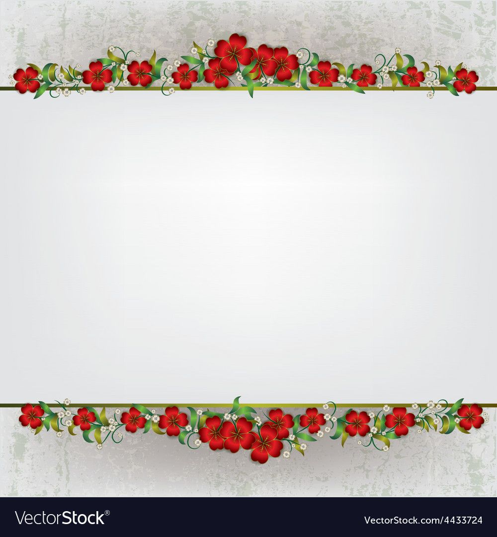 Abstract white grunge background with red floral vector | Price: 1 Credit (USD $1)