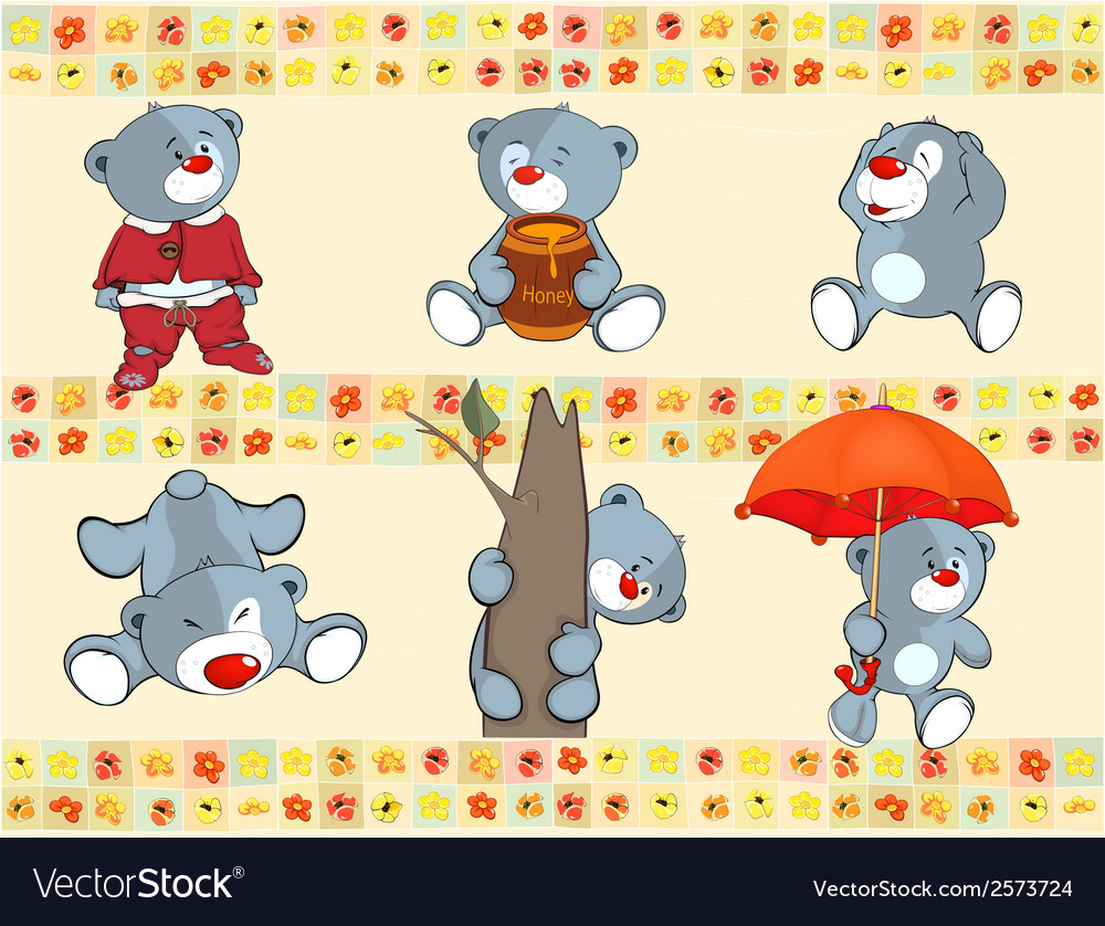 Border for wallpaper with stuffed bear cubs vector | Price: 1 Credit (USD $1)