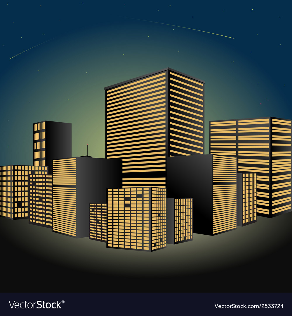 Cityscape at night made in vector | Price: 1 Credit (USD $1)