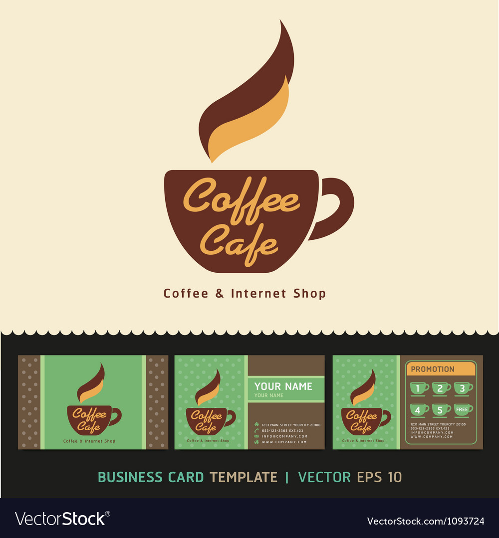 Coffee cafe icon logo and business card design vector | Price: 1 Credit (USD $1)