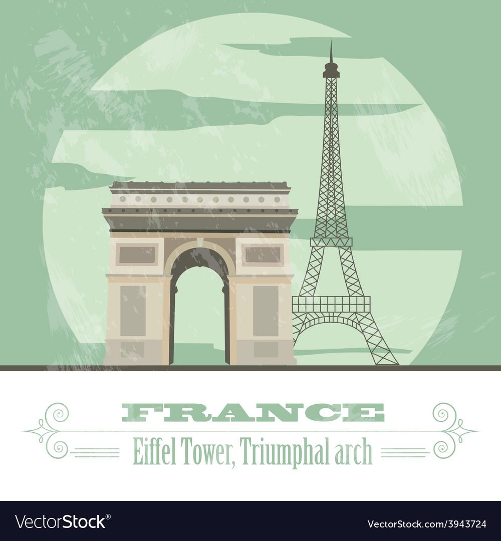 France landmarks retro styled image vector | Price: 1 Credit (USD $1)