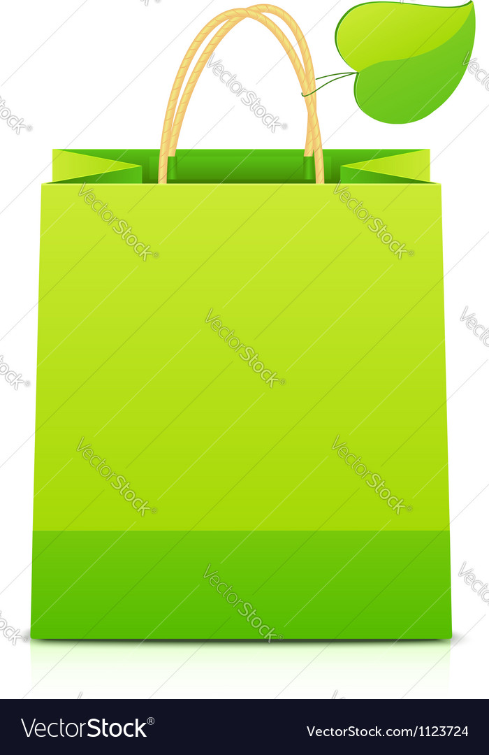 Green paper shopping bag with leaf on handle vector | Price: 1 Credit (USD $1)