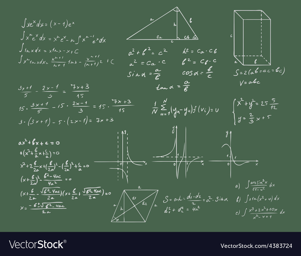 Mathematics and geometry on green blackboard vector | Price: 1 Credit (USD $1)