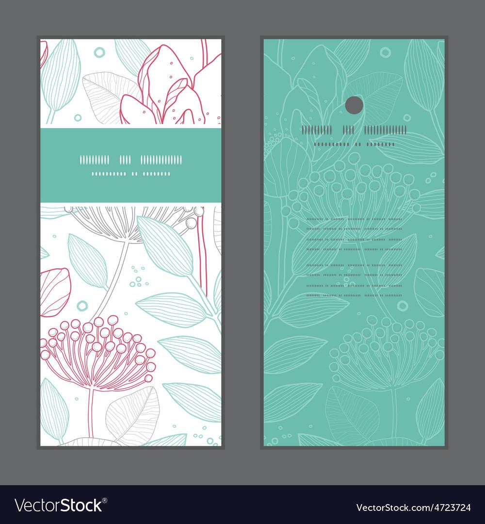 Modern line art florals vertical frame vector | Price: 1 Credit (USD $1)