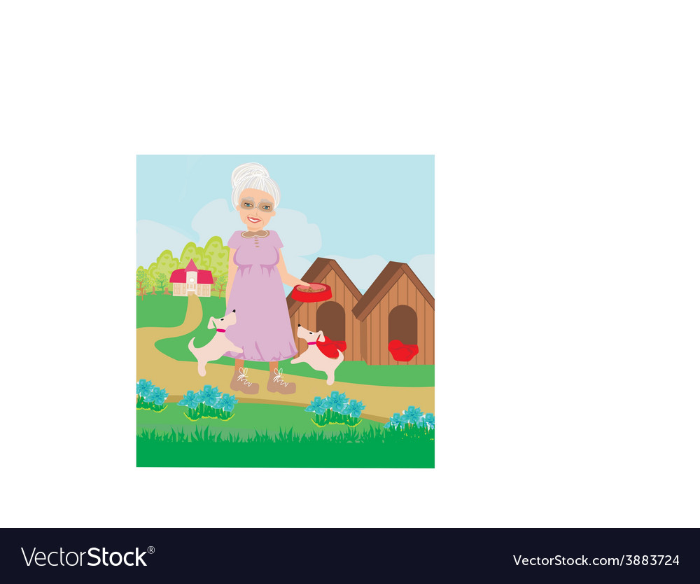 Old lady feeding the dogs vector | Price: 1 Credit (USD $1)