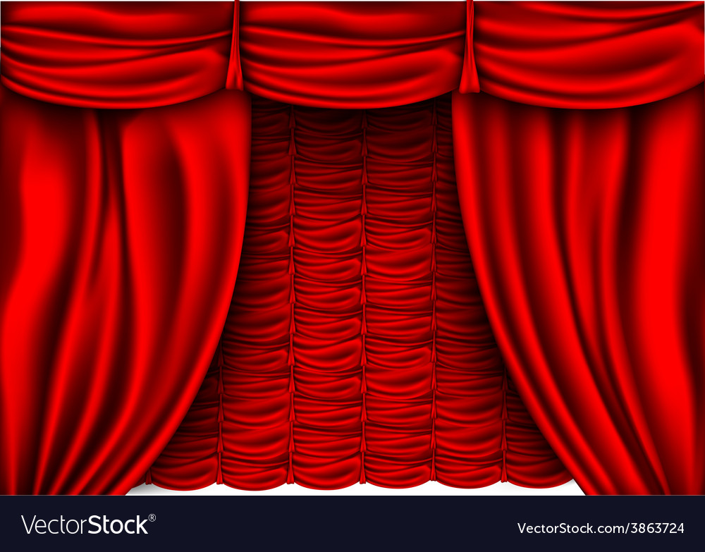 Red silk curtain with shadows vector | Price: 1 Credit (USD $1)