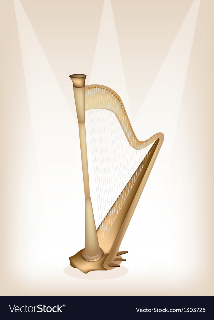 A beautiful harp on brown stage background vector | Price: 1 Credit (USD $1)