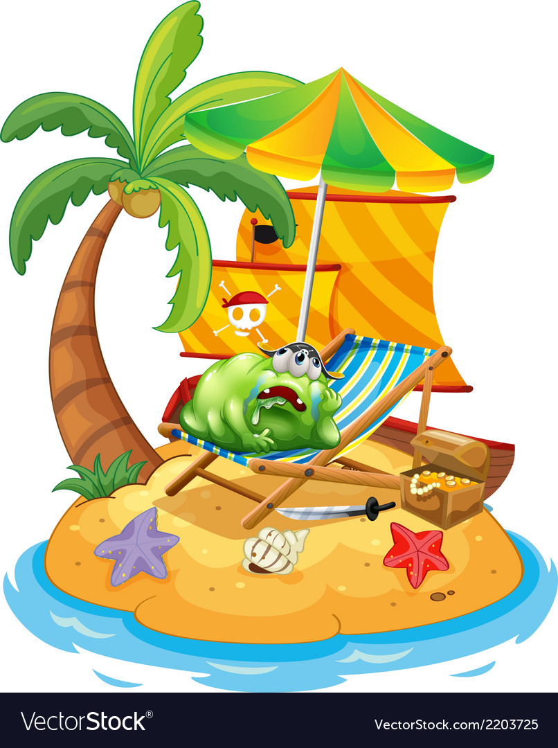 A monster at the beach vector | Price: 3 Credit (USD $3)