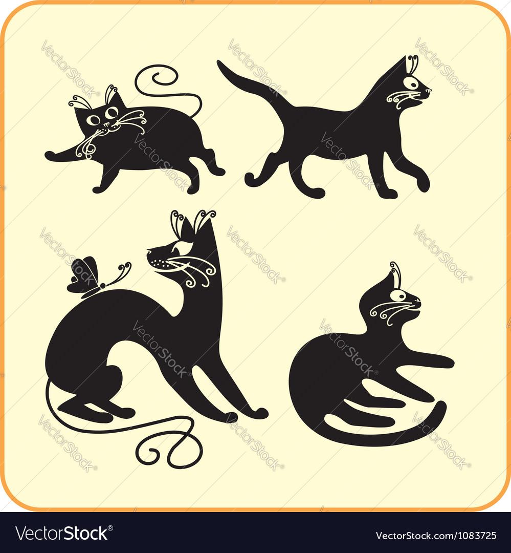 Black cats - set vinyl-ready eps vector | Price: 1 Credit (USD $1)
