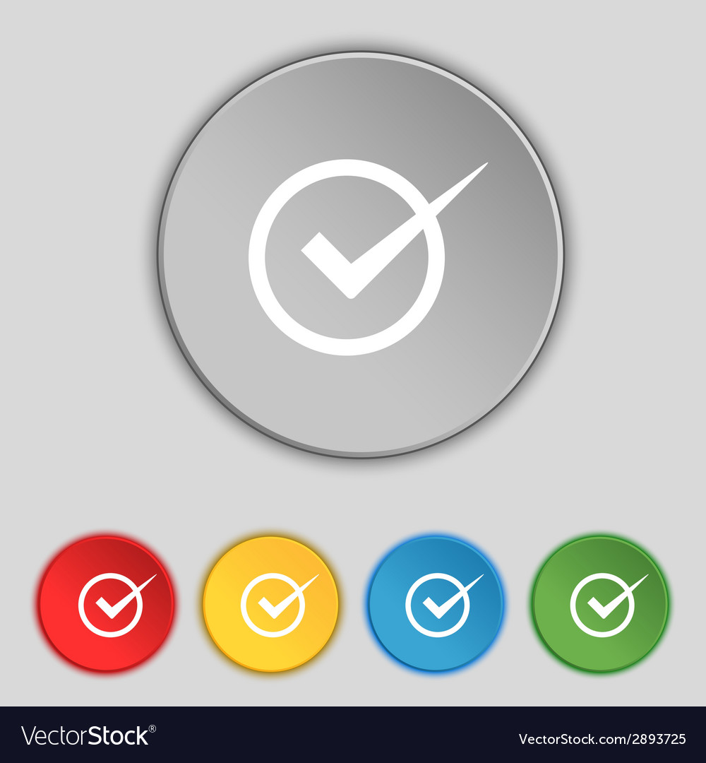 Check mark sign icon checkbox button set colur vector | Price: 1 Credit (USD $1)