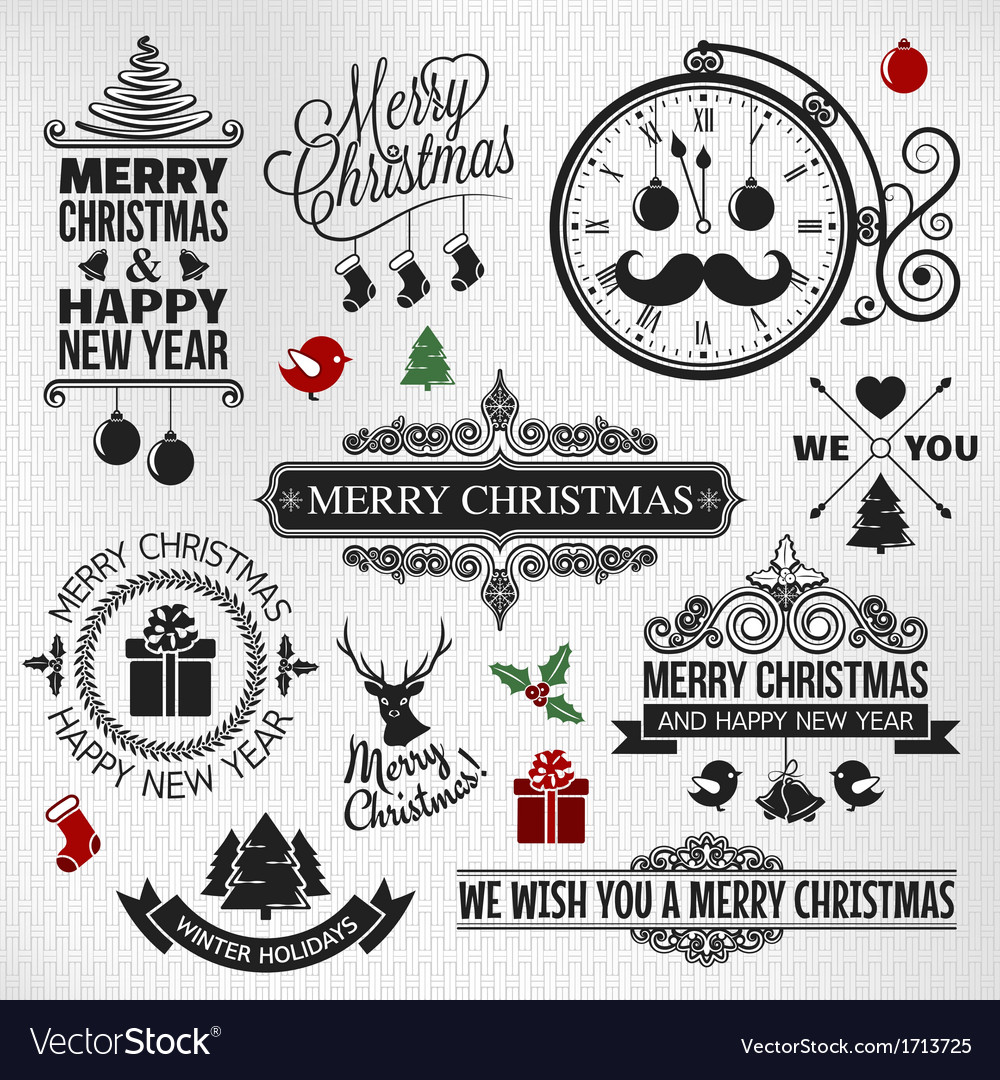 Christmas happy new year vintage labels set vector | Price: 1 Credit (USD $1)