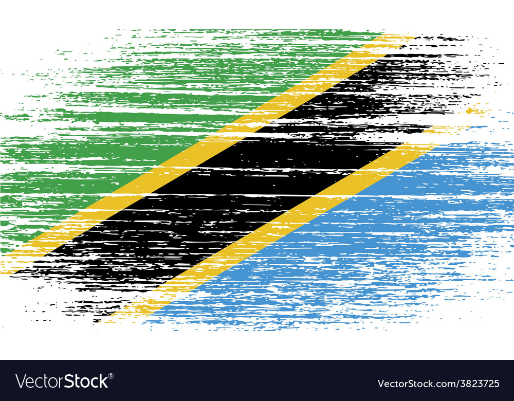 Flag of tanzania with old texture vector | Price: 1 Credit (USD $1)