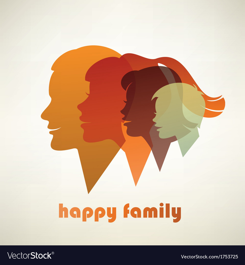 Happy family profile silhouettes vector