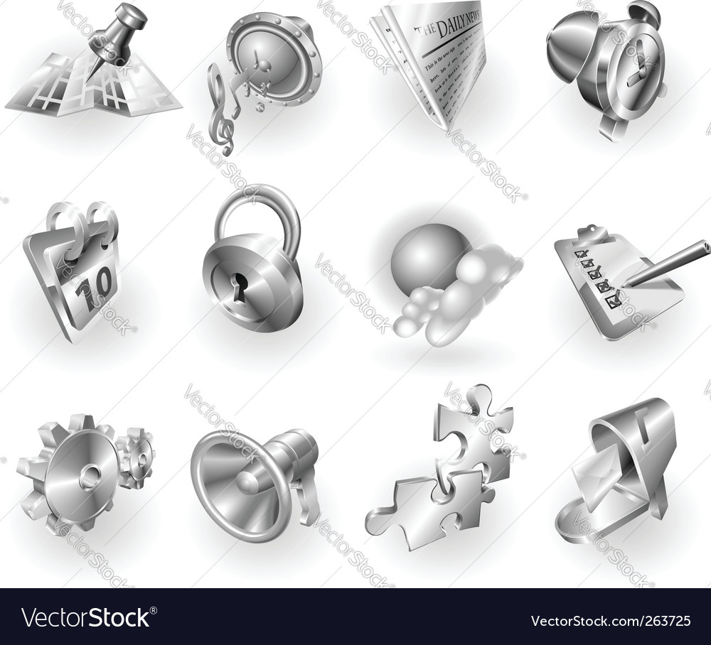 Metallic web icons vector | Price: 1 Credit (USD $1)