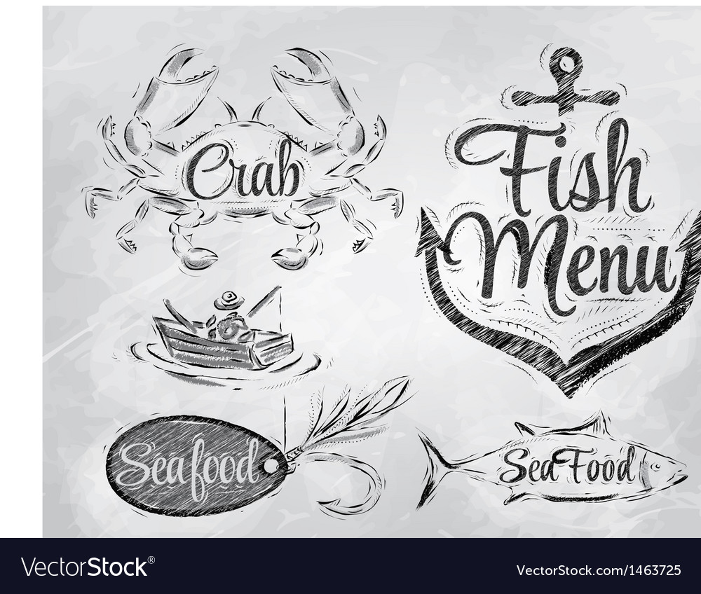 Set collection of seafood charcoal on board vector