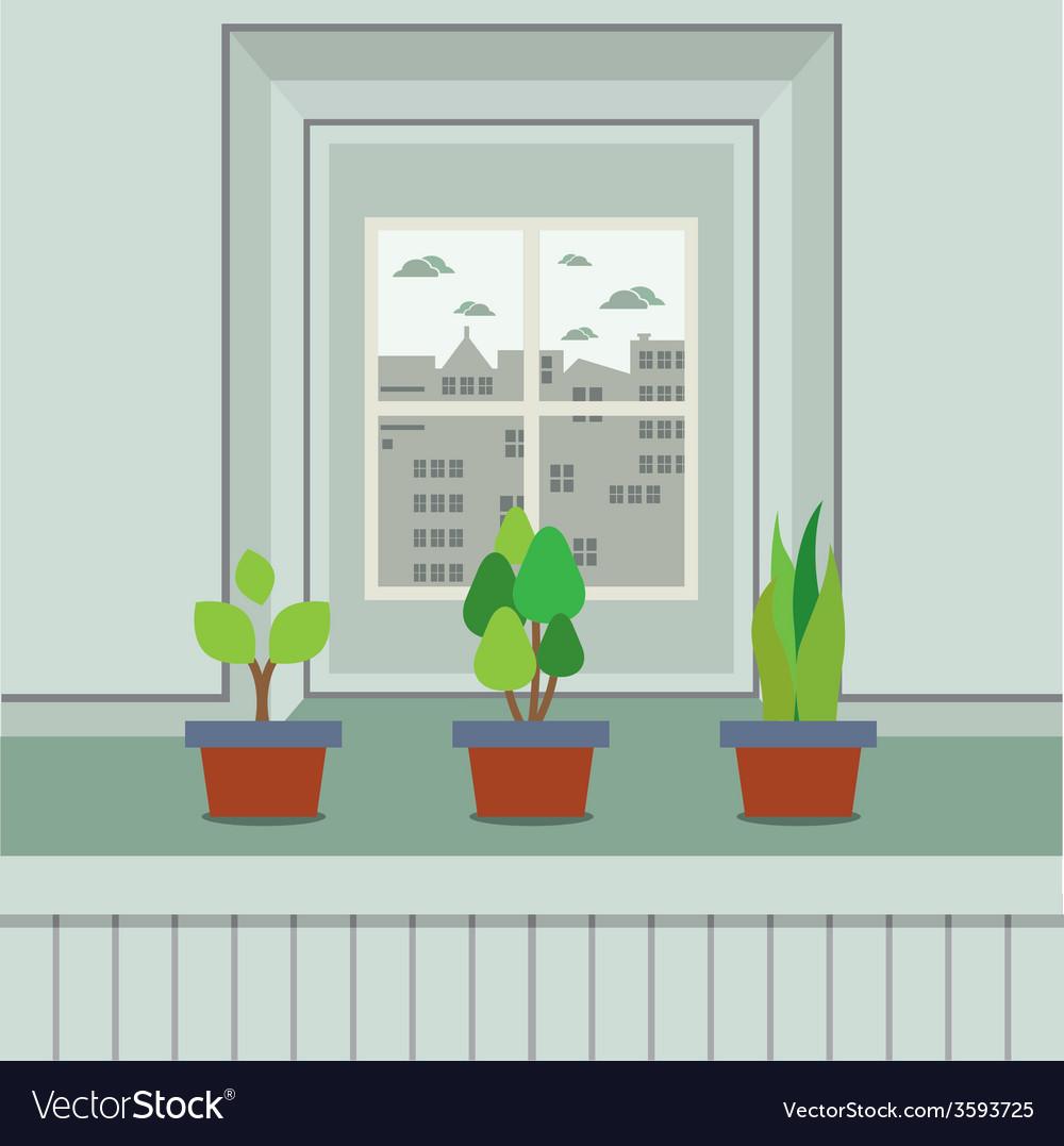 Set of pot plants on windowsill vector   Price: 1 Credit (USD $1)
