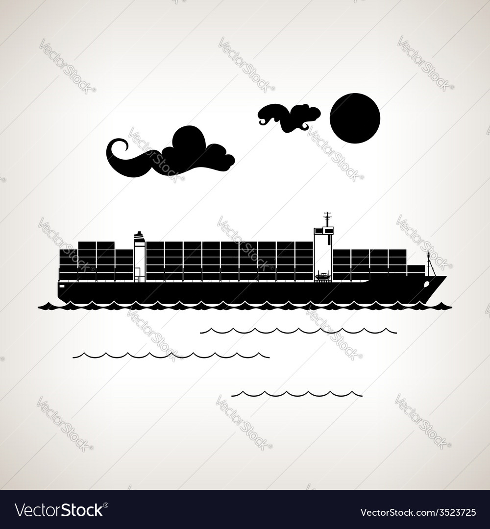Silhouette cargo container ship on a light backgro vector | Price: 1 Credit (USD $1)