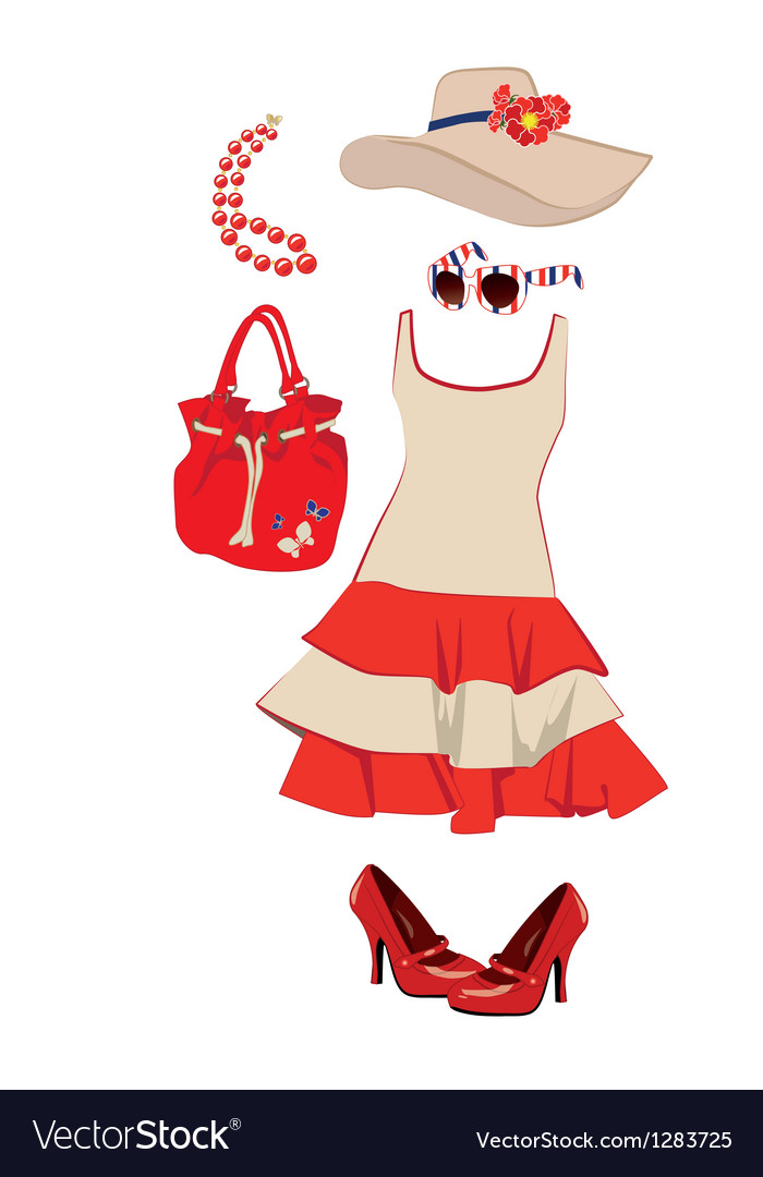 Summer womens clothing and accessories vector | Price: 3 Credit (USD $3)