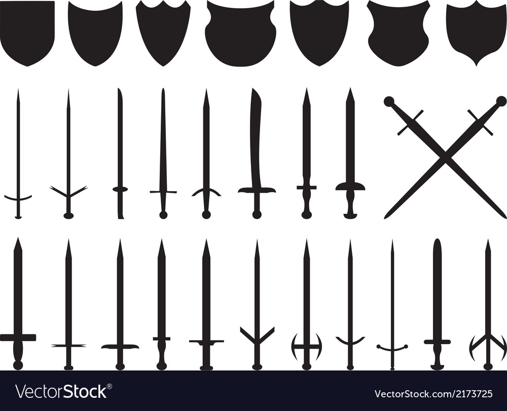 Swords and shields vector | Price: 1 Credit (USD $1)
