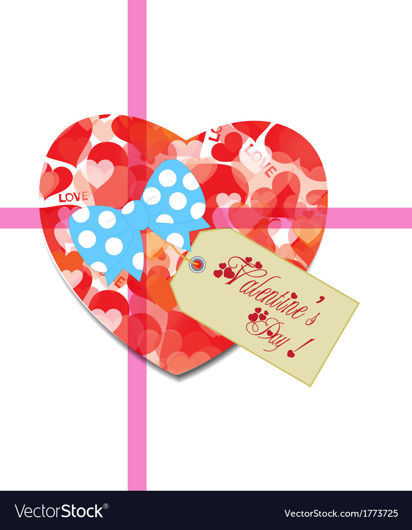 Valentine gift tag hearts card vector | Price: 1 Credit (USD $1)