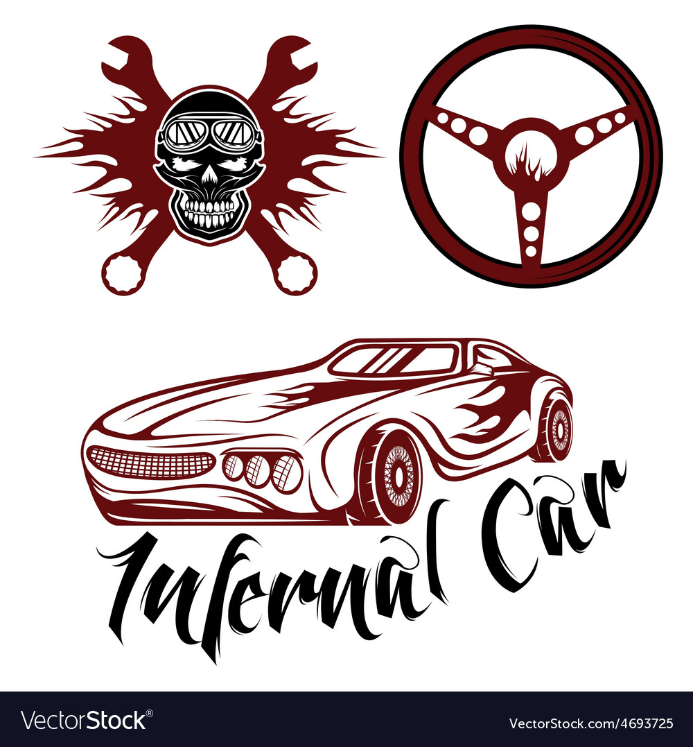 Vintage label sport car theme with carflameskull vector | Price: 1 Credit (USD $1)
