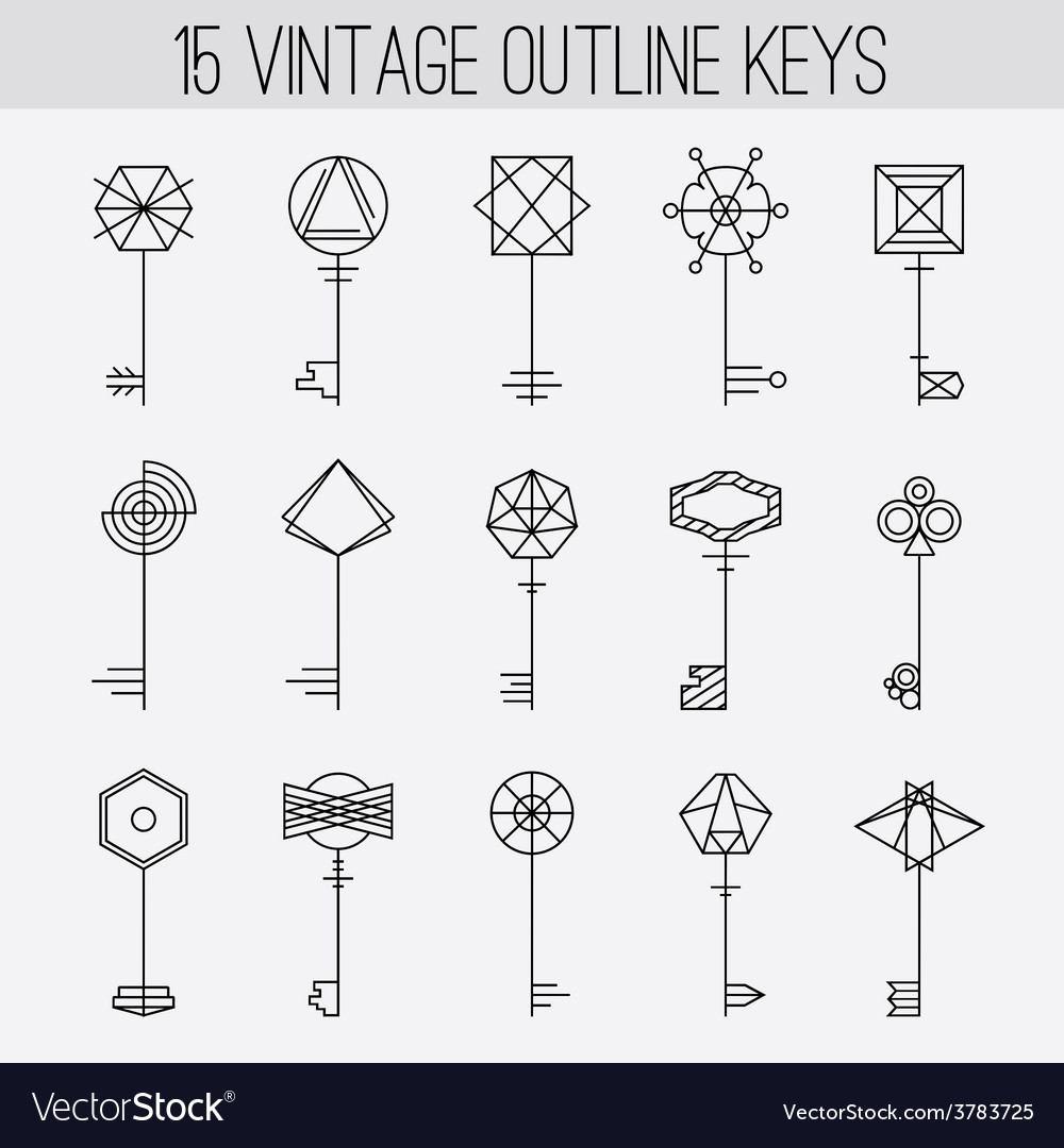 Vintage outline keys set retro icons logo vector | Price: 1 Credit (USD $1)