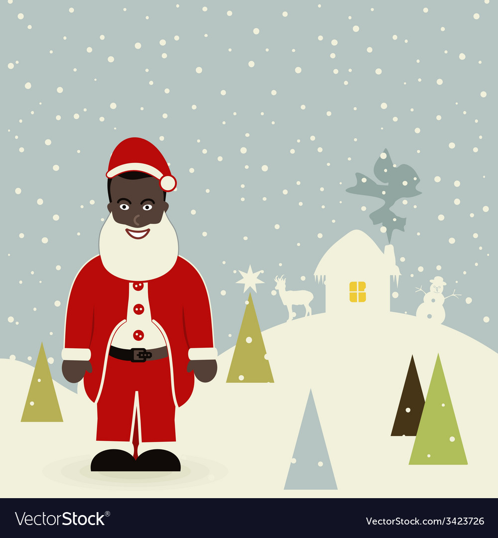 African american santa claus vector | Price: 1 Credit (USD $1)