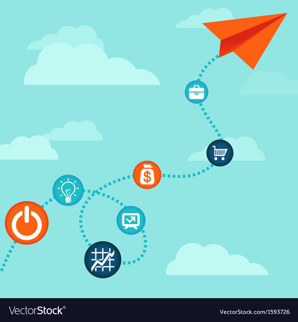 Business concept -flying paper plane vector | Price: 1 Credit (USD $1)